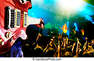 Music live background,guitar player and public