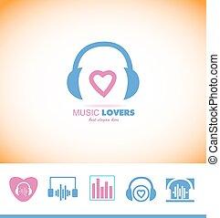 Music logo headphones love heart