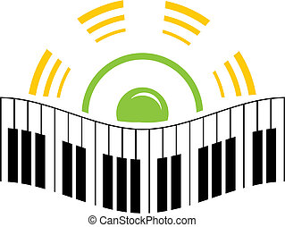 Music logo - Piano and speaker in music logo template
