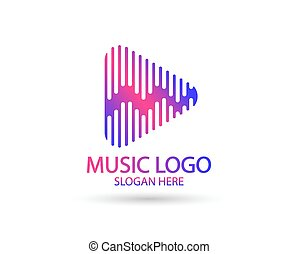 Music logo template. Musical note and Play icon vector design. Turntable illustration