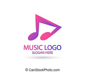 Music logo template. Musical note and vinyl record with play icon vector design. Turntable illustration