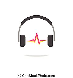 Music logo vector concept isolated, headphones red sound wave beat