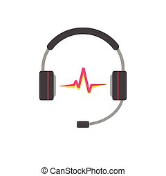 Music logo vector, support headphones with read sound wave beat