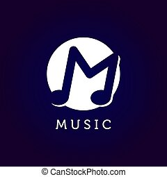 Music logo with letter M symbol in negative space