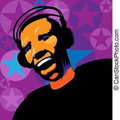 Music lover in headphones. Vector iluustration.