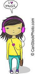 music lover kid cartoon