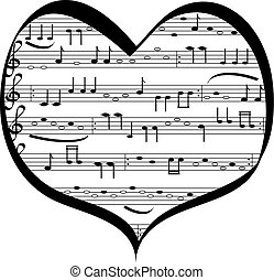 Vector illustration of notation in the shape of heart , object isolated