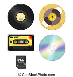 Music Media - Audio Cassette and Gramophone disc and Compact...
