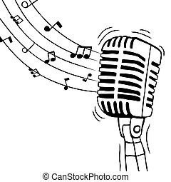 Music microphone with musical notes isolated