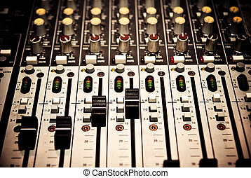 music mixer in studio closeup