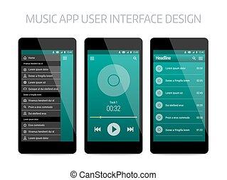 Music modern app user interface design.
