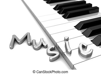 Music - Modern piano with text music over keys