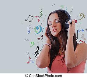 music., mulher, jovem, escutar, fones
