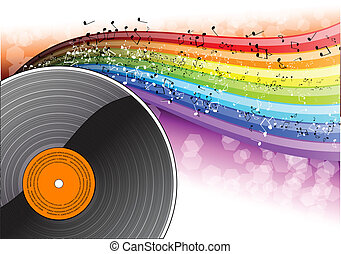 music - Music background with vinyl desk