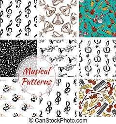 Music, musical instruments seamless patterns set