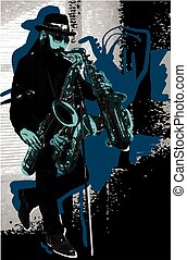 Music, Musician. Bearded Sax Player in Blue. Evening mood. A few snapshots of move a musical instrument. An hand drawn illustration, vector