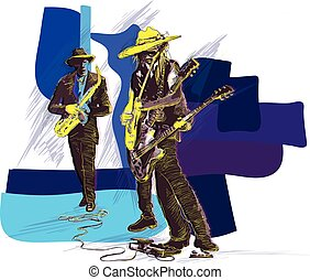 Music, Musician Placard. Grunge and jazz jam session. Guitar player and sax player. A few snapshots of move a musical instrument. An hand drawn illustration, vector