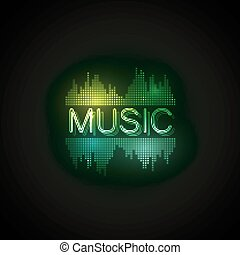Music neon sign with digital music equalizer