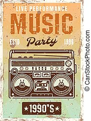 Music nineties party vintage poster with boombox