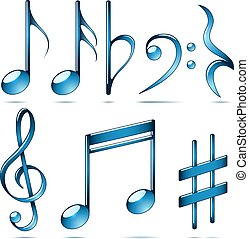 Music notation blue glass symbols.