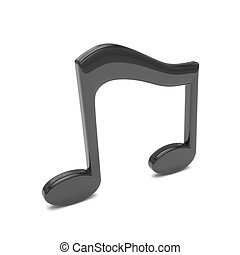 music note 3D, on white