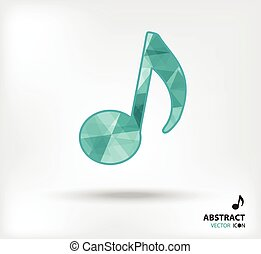 music note abstract vector icon geometric polygon