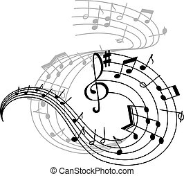 Music note and treble clef on swirling stave icon - Music...
