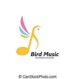 music note bird concept  vector illustration icon