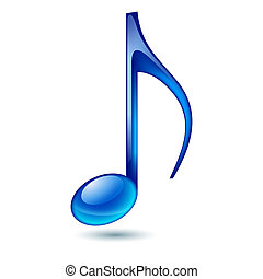 Music note. - Blue music note isolated on white background.