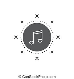 Music note button vector icon symbol isolated on white background