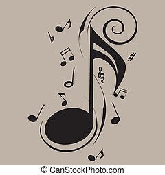 music note - abstract music note on gray background