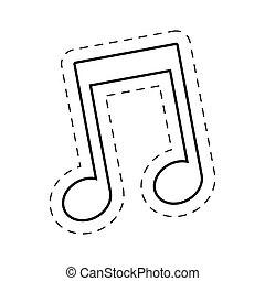 music note cut line vector illustraiton eps 10