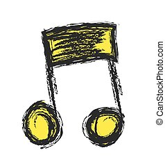 music note doodle, vector
