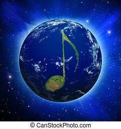 Music Note Earth