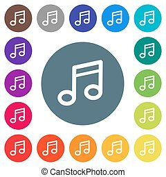 Music note flat white icons on round color backgrounds