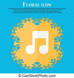 Music note . Floral flat design on a blue abstract background with place for your text. Vector