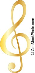 Music note gold symbols