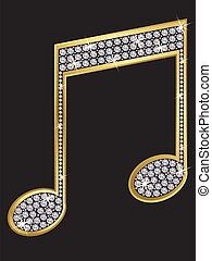 Music note golden with diamonds, ve