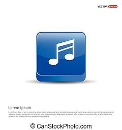 Music note icon - 3d Blue Button