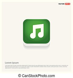 Music note icon Green Web Button