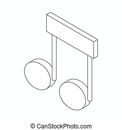 Music note icon, isometric 3d style