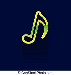 music note icon or button in flat style with long shadow icon. Vector illustration. color. logo. symbol. on blue background