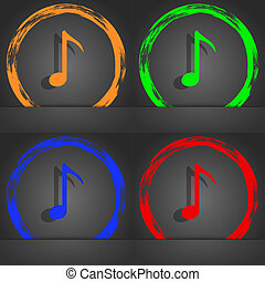 Music note icon sign. Fashionable modern style. In the orange, green, blue, red design.