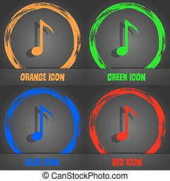 Music note icon sign. Fashionable modern style. In the orange, green, blue, red design. Vector
