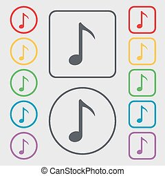 Music note icon sign. symbol on the Round and square buttons with frame. Vector
