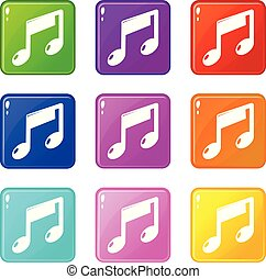 Music note icons set 9 color collection