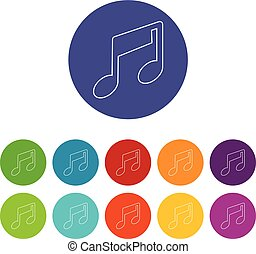 Music note icons set vector color