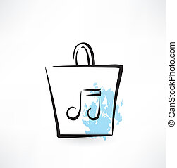 music note in a paper bag grunge icon