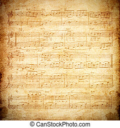 music note in grunge paper  - music note in grunge paper