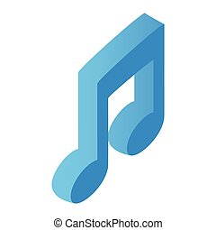 Music note isometric 3d icon